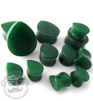 Teardrop Shape Jade Green Stone Plugs - Sizes / Gauges (2g - 7/8) -