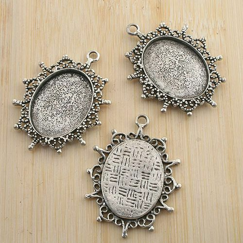 4pcs antiqued silver oval rim picture frame  G1534
