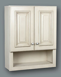 Image Is Loading Antique White Bathroom Wall Cabinet With Shelf 21x26
