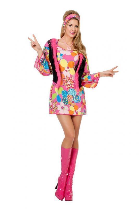 Hippiekostüm 70er 80er Jahre Kleid Kostüm Flowerpower Damen Hippie Party Disco | Schöne Kunst  | Ausgewählte Materialien  | Neu