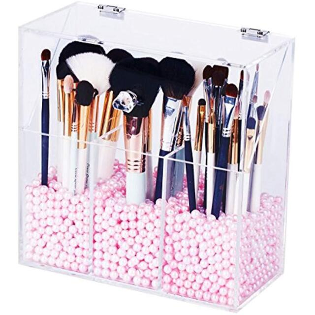Newslly Clear Acrylic Makeup Organizer With 3 Brush Holder Compartment and  Lid