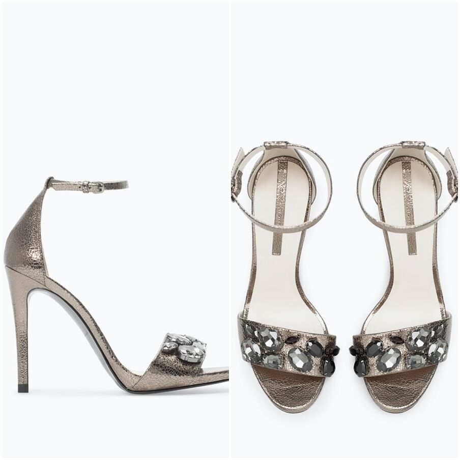 ZARA ZARA ZARA Women's High-heeled Sandal(Grey, US 7.5 EUR 38) 9a5ab0
