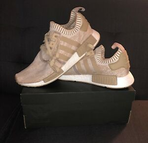 9926c7999 NEW adidas NMD R1 Primeknit Shoes Men s COLOR LINEN KHAKI LINEN ...