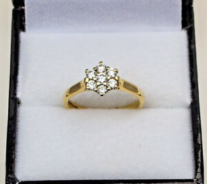 9ct-Yellow-Gold-Diamond-Cluster-Claw-Set-Seven-Stone-Ring-0-40ct-Size-L-1-2