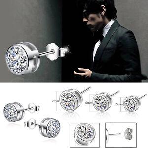 1-Par-Mujer-Hombre-Pendientes-De-Boton-Plata-Aretes-Diamante-Cristal-Earring