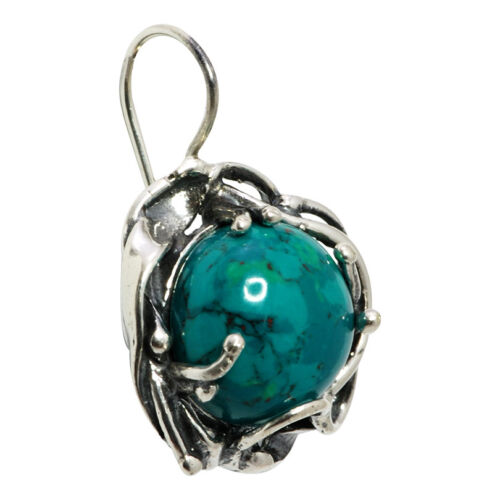 """Earrings Natural Chrysocolla Eilat Stone Silver 925 French Hook Hand Made 1,3/"""""""