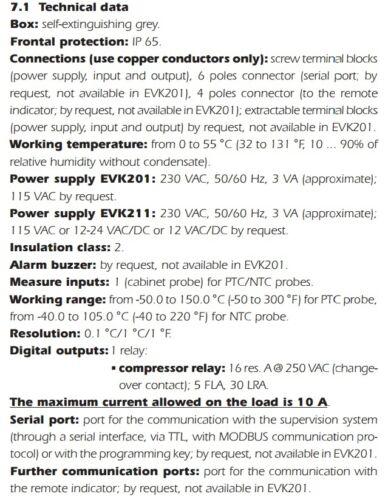 PTC PROBE /& ALARM CONTROL EVCO EVK211P7VXS 230VAC DIGITAL STATIC THERMOSTAT