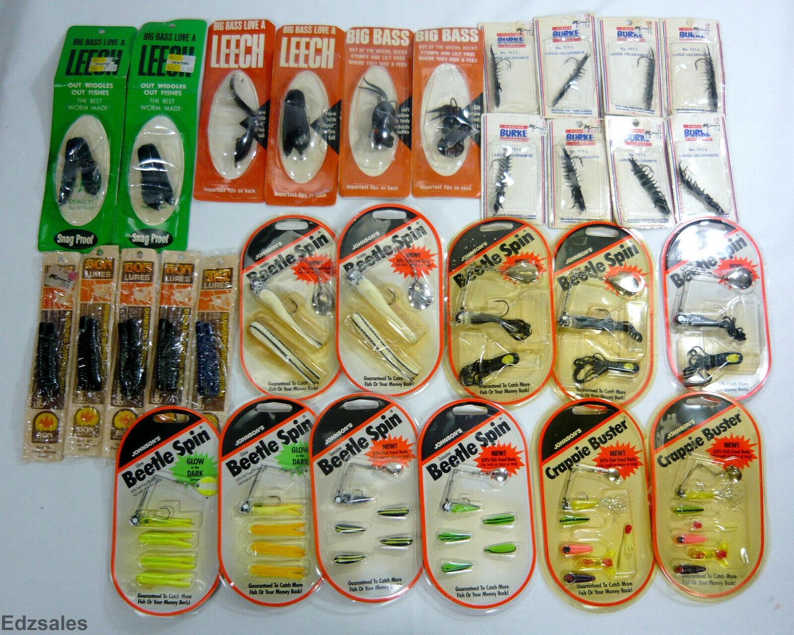 30 Spinner Bait pêche leurres-snagproof sangsue, grand helgramite, Johnson BEETL