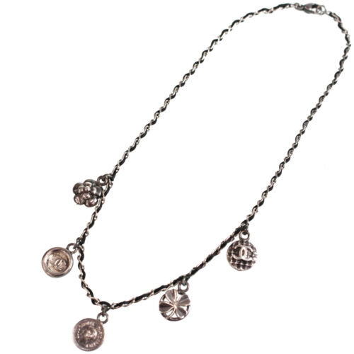 CHANEL CC Silver Chain Necklace Pendant Vintage 96
