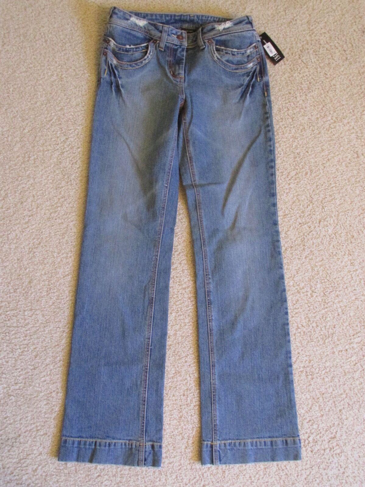 New Women's INC Straight Leg Full Length Distressed bluee Jeans (Pants) Size 2