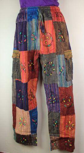 S-5XL pantaloni di cotone patchwork Casual Pantaloni Yoga Hippie Festival Da Combattimento HT12