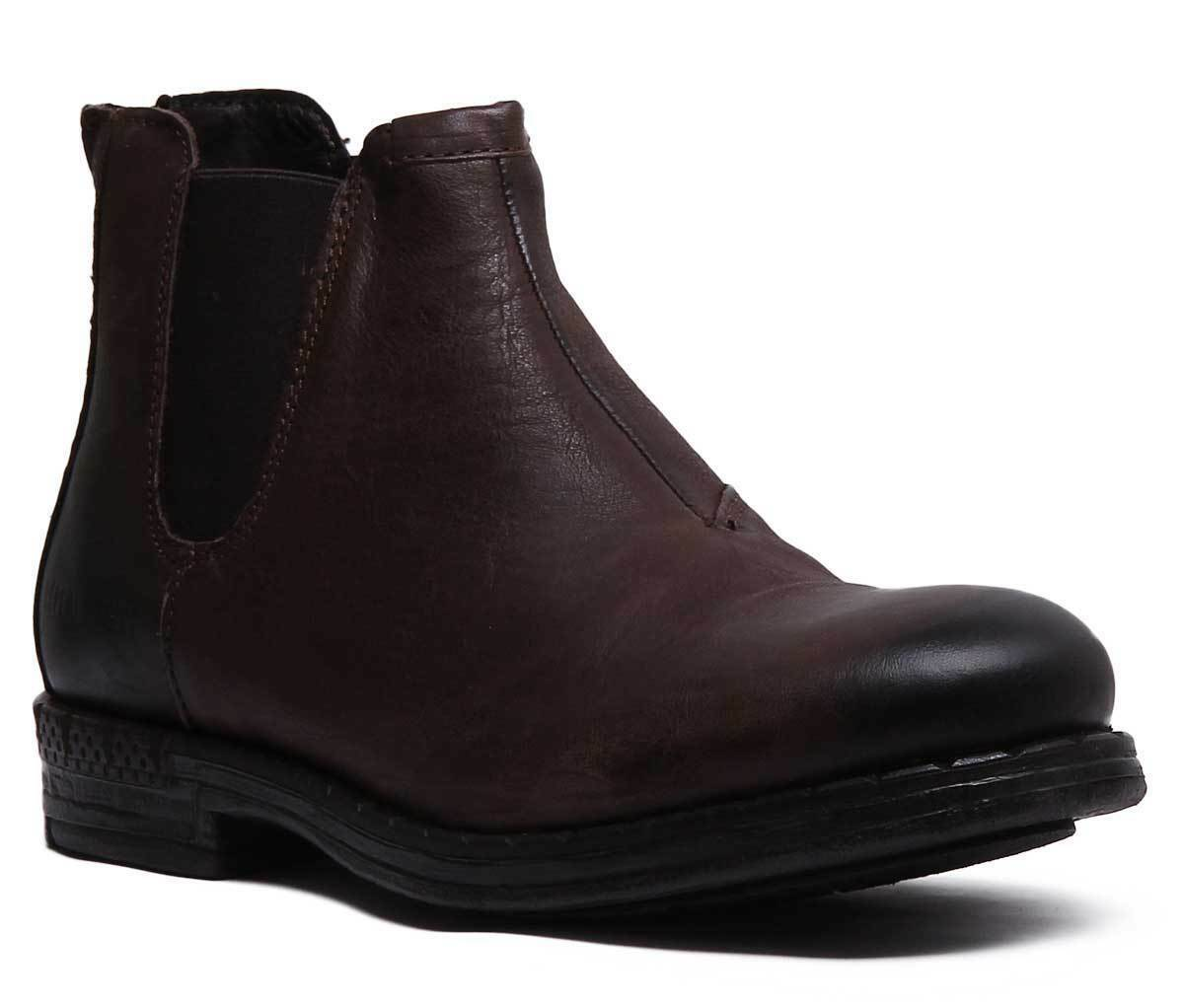 Replay Durand Men Leather Chelsea boots In Dark Brown Size UK 6 - 12