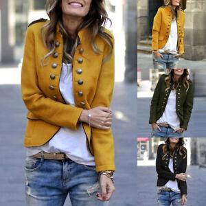 Mode-Femme-Manteau-Manche-Longue-Boutons-Poche-Casuel-Quotidien-Loose-Veste-Plus