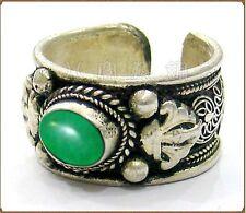 Half Inch Wide Adjustable Solid Tibetan Filigree Green Jade Gemstone Dorje Ring