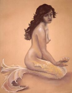 16-x-20-Topaz-Mermaid-Fantasy-Art-Vintage-Nude-Pinup-Limited-Giclee-Print