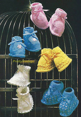 VINTAGE KNITTING PATTERN BABY DK BOOTEES & 4 ply 1-18 mths