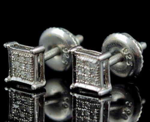 WHITE GOLD FINISH 4 PRONG GENUINE REAL DIAMOND STUD EARRINGS 5 MM