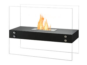 Freestanding Ventless Bio Ethanol Fireplace Vitrum H Black Ignis Ebay