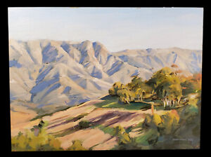 VINTAGE-1995-CALIFORNIA-MOUNTAINS-TREES-LANDSCAPE-OIL-PAINTING-BRENNEN-MCELHANEY