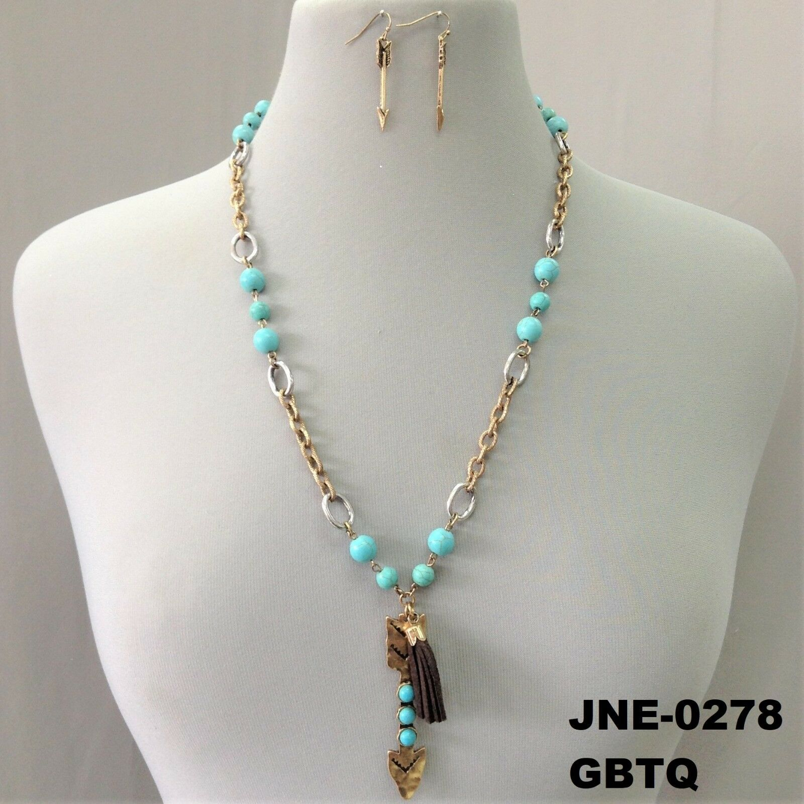Arrow Pendant Turquoise Charms Gold Finish Necklace /& Earrings JNE-0278 GBTQ