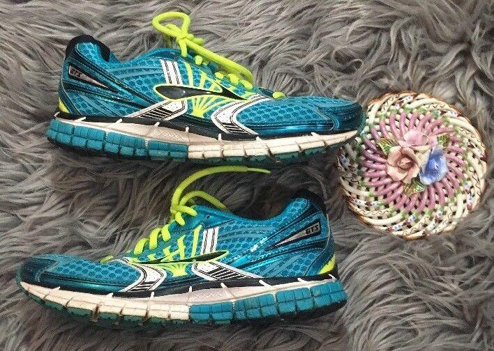 Brooks Adrenaline GTS 14 Women's Running shoes Aqua bluee Size 7M Neon Yellow