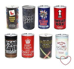 Novelty Money Tin Jar Saver Cash Can Box Savings Bank Large Metal