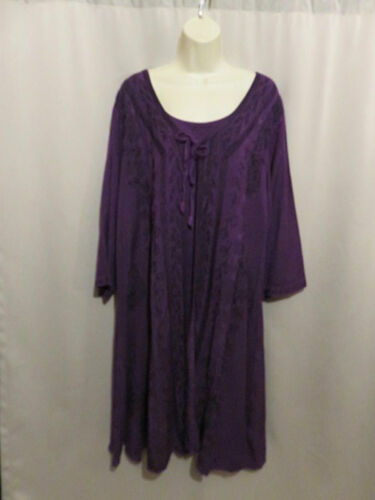 HolyClothing Dress Purple Dyed Rayon Black Embroid