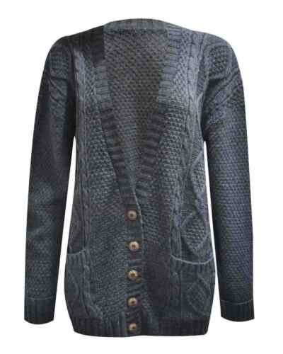 New Women Long Sleeve Button Top  Chunky Aran Cable Knitted Grandad Cardiga