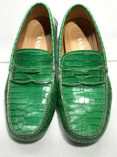 prada  embossed driving penny loafer 7.5