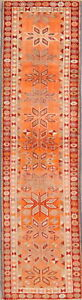 Geometric-Muted-ORANGE-Anatolian-Runner-Rug-Hand-Knotted-Oriental-Carpet-3-039-x10-039