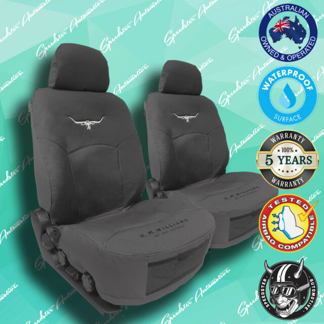 RMW RM WILLIAMS GREY CANVAS CAR FRONT SEAT COVERS HEAVY DUTY