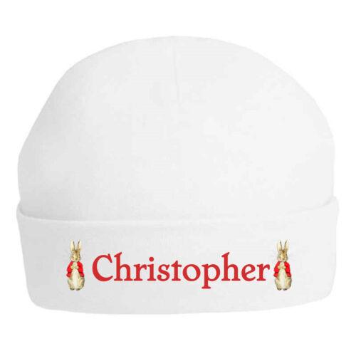 Peter Rabbit Manteau Rouge Personnalisé Imprimé 100/% double épaisseur COTON BABY HAT
