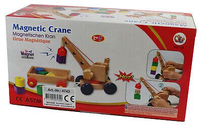 Magnetischer Kran aus Holz Spielzeug mit Seilzug /& Anhänger Magnetismus