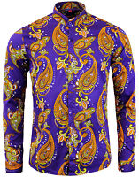 Madcap Retro Mod 60s Tanpura Paisley Grandad Collar Shirt: Purple Mc318