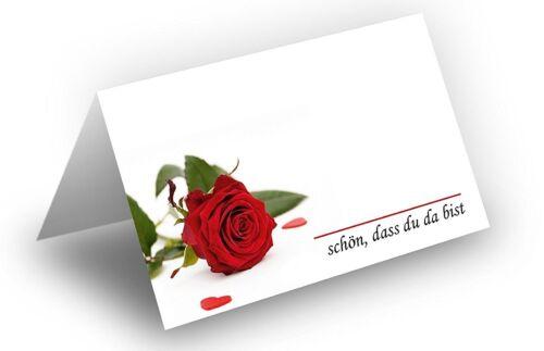 25x Tischkarten 8,5 x 11,2 cm Motiv: Rose mit Herzen