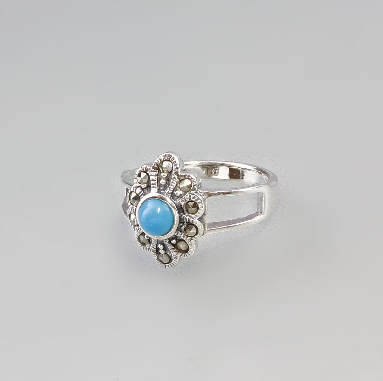 Blütenförmiger Markasit Ring mit türkisfarbenem Stein 925er silver 9927374
