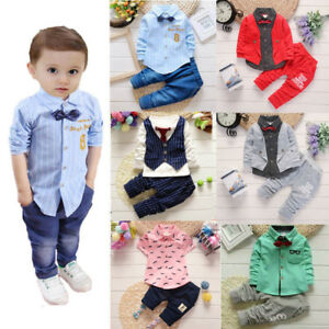 12ee3454d NEW Kid Baby Boy Bow Tie Vest Shirt+Pants Outfit Clothes Gentleman ...