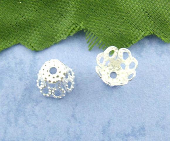 600 Belles Perles Coupelles Filigrane Argenté 5*6mm Pr 8-10mm Perles