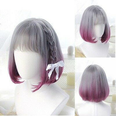 Bob Hair Lovely Gray Rose Red Ombre Full Wig Short Straight Neat Bangs Style Wig