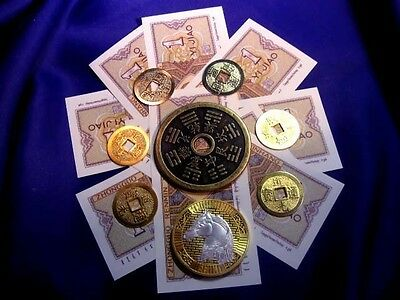 FSH032 Feng Shui I-Ching Coin & Money Starter Kit + Gold/Silver Bullion Coin