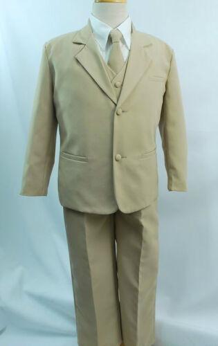 Stone Khaki New Boys Children Formal Tuxedo 5 piece Suit Set size 14 16 18 20
