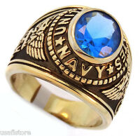 Light Sapphire Blue Stone Us Navy Military Gold Ep Mens Ring
