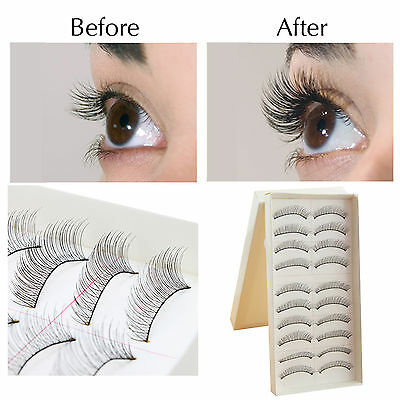 10Pairs Makeup Handmade Natural Black Long False Eyelashes Eye Lashes Sparse
