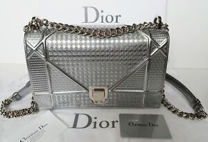 cd21b885fe Image is loading Dior-Diorama-Silver-Metallic-Calfskin-with-Micro-Cannage-
