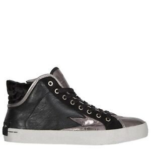 8ad978db623300 CRIME LONDON BLACK   METALLIC LEATHER HI TOP TRAINERS ZIP £165 37