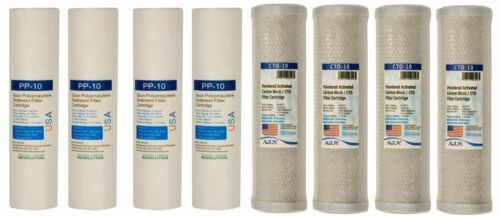 """4 Sets of Sediment and CTO 2.5/""""x10/""""  for Dual Stage Whole House Filter"""