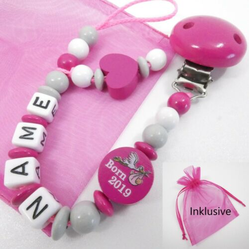 Baby pink Schnullerkette mit Namen Herz grau weiß Born 2019 Mädchen