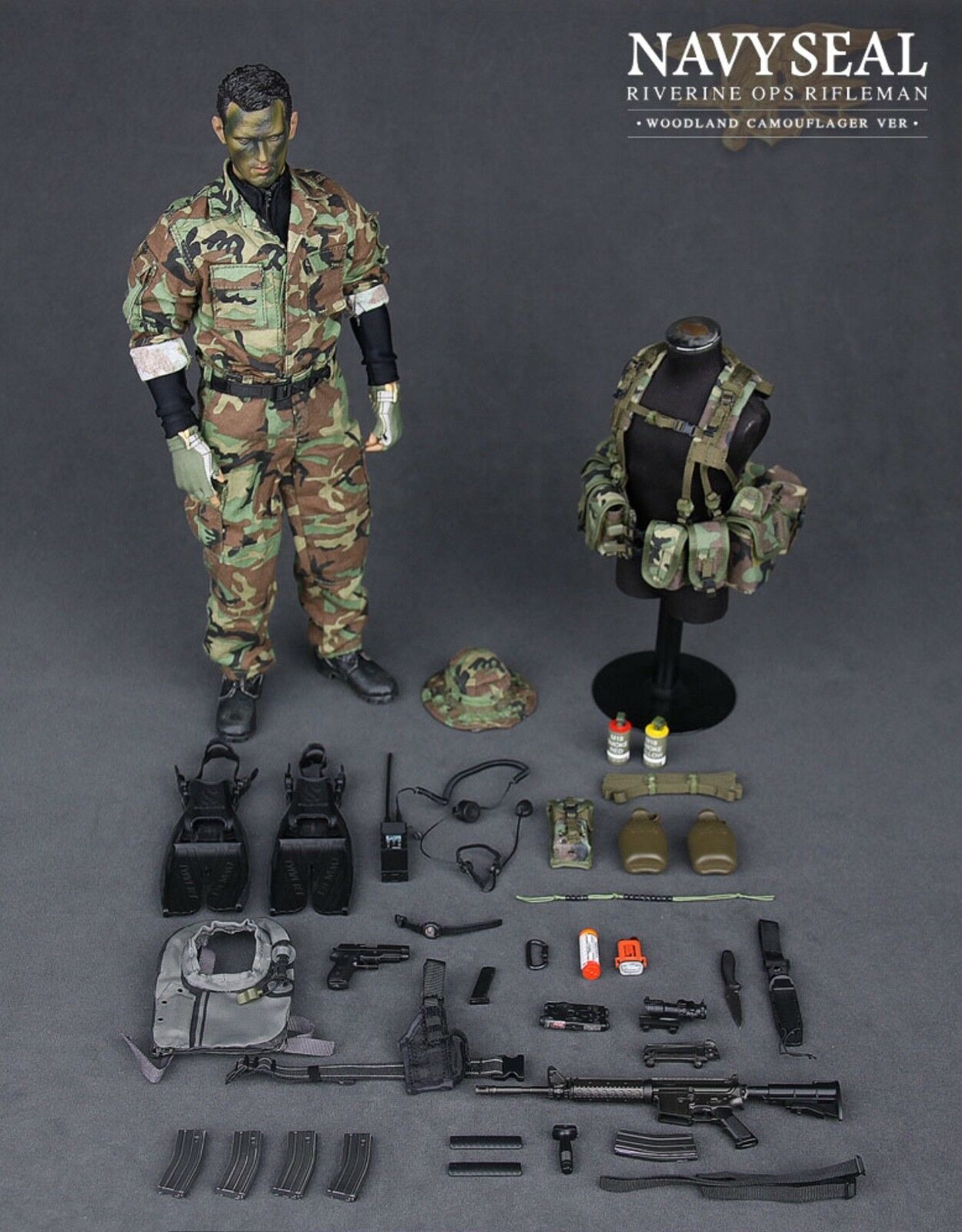 DAMTOYS 1 6 scale US Navy Seal 'Riverine Ops' Rifleman (Woodland) Boxed figure