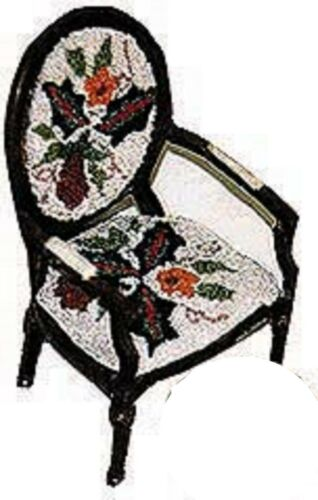Pomegranate Chair Doll House Miniature Anna G Brazilian Embroidery AG3188 IVORY