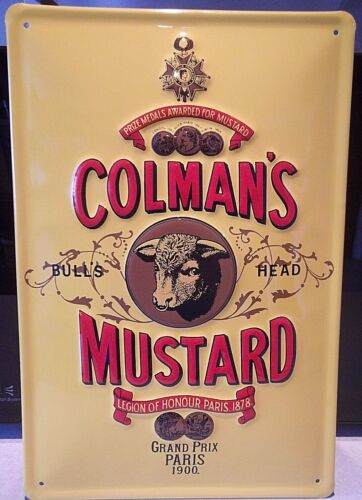 "COLMAN/'S MUSTARD// BULL VINTAGE-STYLE METAL SIGN,12/""X 8/"" EMBOSSED 3D 30X20cm"